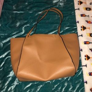 Camel colored tote bag